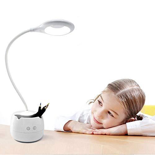 LKAIBIN Led Desk Lamp for Kids,Dimmable Eye Care Study Book Light with Pen Holder/Night Light/USB Charging Port for Girls Boys Reading Light