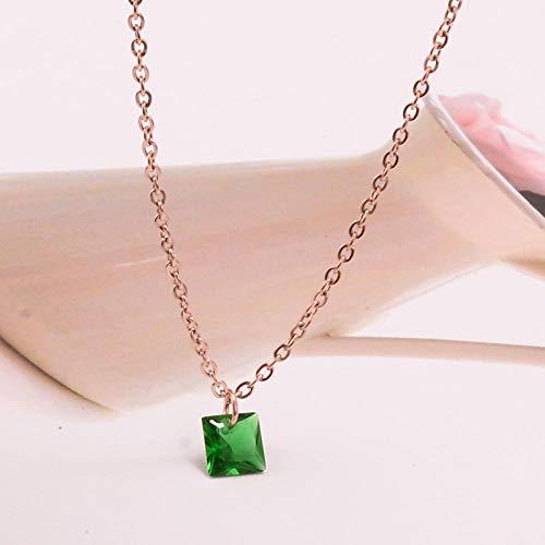 Collana L04 Temperamento Coreano All'Ingrosso 18 Carati Cubo Di Smeraldo Zucchero Zircone Cristallo Oro Rosa Gioielli Catena Corta In Acciaio Al Titanio