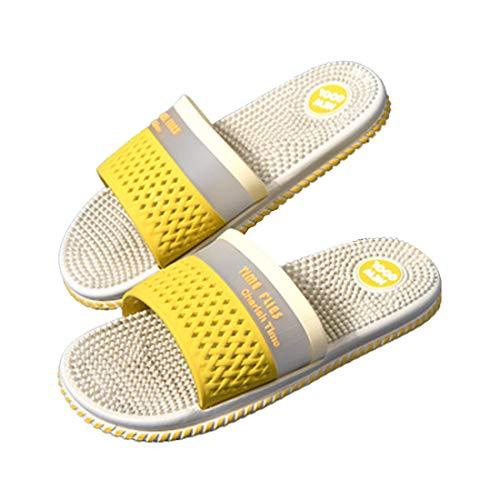 CNNLove 2021 Nuevas Sandalias, Cómodas Zapatillas De Verano Antideslizantes con Función De Masaje, Adecuadas para Hombres Y Mujeres, Zapatillas De Masaje De Pies,Amarillo,38