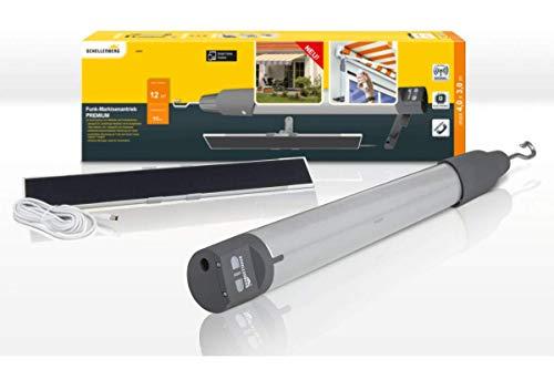 Schellenberg 20264 Funk Markisenantrieb Premium mit Akku, 10 N max 12 m² Fläche, einfach nachrüsten mit Solarpanel, inkl. Netzteil und Wandhalterung