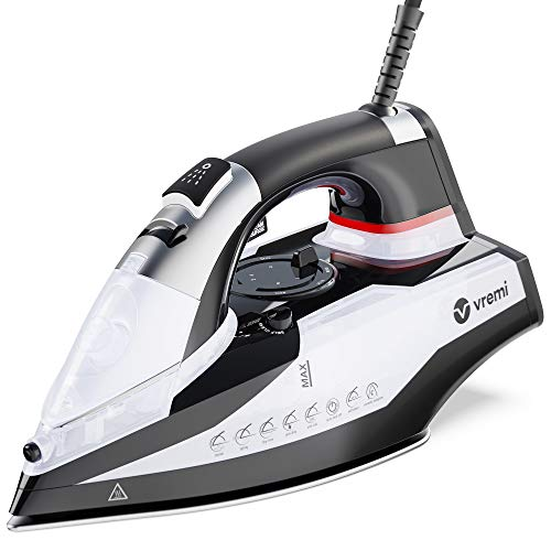 Vremi 1800 Watt Steam Iron for Clothes - Nonstick Ceramic Sole Plate, 350 mL Water Tank, 8 Foot...