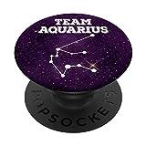 Team Aquarius Constellation Enero Febrero Cumpleaños PopSockets PopGrip Intercambiable