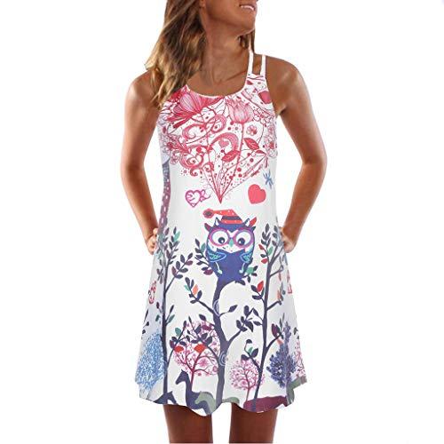 Strandkleid Damen Kurz Trägerkleid Ärmellos T-Shirt Kleid Rückenfrei Sexy Sommerkleid Strandmode Tunika Minikleid 3D Blumenmuster A-Line Lose Kleider Mode Hemdkleid Blusenkleid Partykleid Kleidung