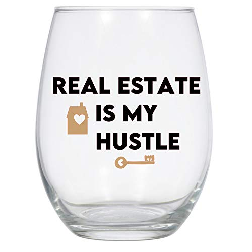Real Estate is My Hustle Wine Glass, 21 Oz, Real Estate Agent, Realtor, Real Estate Broker Gift