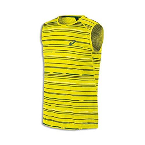 ASICS Athlete - Maglietta Senza Maniche da Uomo, Uomo, 121681, Grafica Stripe Sicurezza Giallo, M