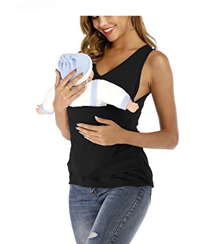Jolie Mama Mutterschaft Stillen Känguru-Pflege-Shirt Tragetuch Hände frei Baby tragen Hemd,Schwarz,L