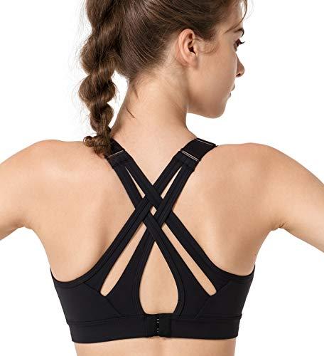 Yvette Sport BH Starker Halt Verstellbar Träger Gekreuzt Rücken Große Größen für Fitness Lauf Yoga, Schwarz, S