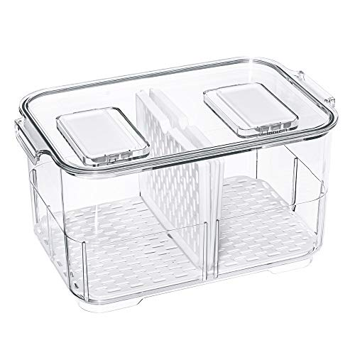 Vegetable Fruit Storage Containers, Refrigerator Storage Containers Fresh Produce Saver with Lids and Vents,Stackable Salad Lettuce Keeper for Refrigerator,BPA-free Stay Fresh Containers Bin
