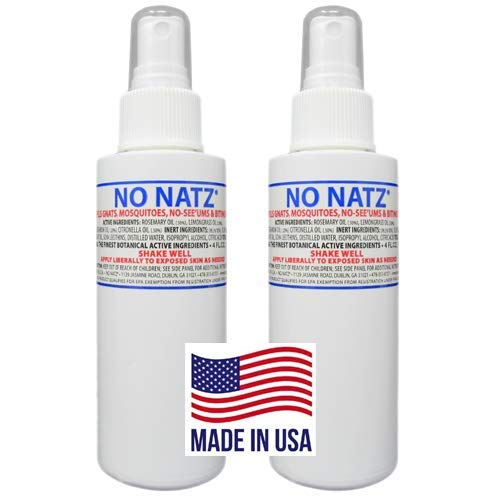 No Natz | Gnat, Mosquito and Biting Flies Repellant | Effective Personal Botanical Bug Spray | Hand-Crafted DEET-Free Hypoallergenic | Non-Greasy Formula (2, 4oz.)
