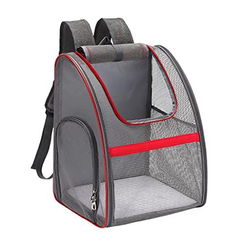LOVIVER Mochila transportadora de Mascotas, Mochila portátil Transpirable con Abertura de Malla Lateral-Ventana Visible-Hebilla de cinturón de Seguridad, Gris Rojo