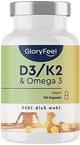 Vitamin D3 + K2 + Omega 3 - 5000 IE Depot - Premium-Rohstoffe: 99,7+% All-Trans K2 Original K2VITAL® - Omega 3 in Triglycerid Form und hochbioverfügbares D3