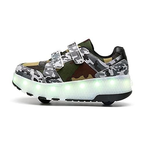YSTHEZ Zapatillas de deporte para niños y niñas, transpirables, con carga USB, con dos ruedas, para principiantes, cumpleaños, color verde, 34EU