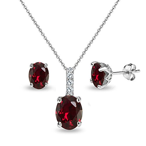 Sterling Silver Synthetic Ruby and White Topaz Oval Crown Necklace & Stud Earrings Set