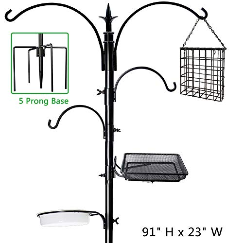 yosager 91' x 23' Premium Bird Feeding Station Kit, Bird Feeder Pole Wild Bird Feeder Hanging Kit with Metal Suet Feeder Bird Bath for Bird Watching Birdfeeder Planter Hanger
