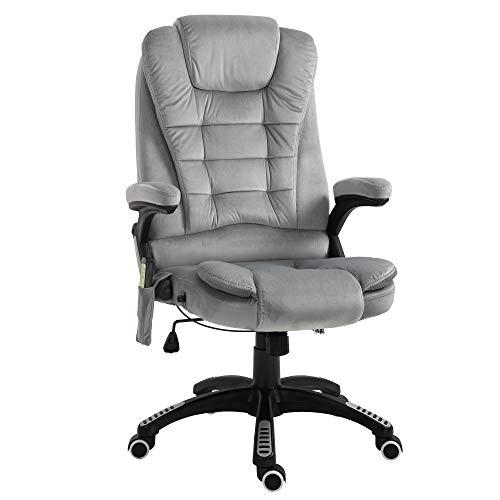 Vinsetto Massage Sessel, Bürostuhl mit Massagefunktion, Gaming Stuhl, höhenverstellbarer Chefsessel, ergonomischer Drehstuhl, PU, Grau, 67 x 67 x 116-126 cm