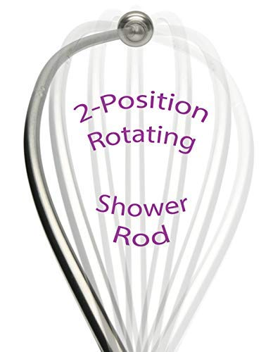 "COB Products Patented Curved Shower Rod – Rotates for Small Bathrooms | Curved Shower Curtain Rod Brushed Nickel | No Center ""Ledge"" to Catch Curtain 