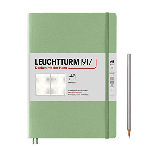 LEUCHTTURM1917 361592 Notizbuch Medium (A5), Softcover, 123 nummerierte Seiten, Salbei, dotted