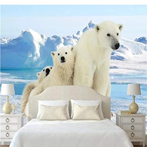 Guyuell Custom Photo Wallpapers for Walls 3D Kids Room Cartoon Pattern Murals Polar Bear Glacier Wall Papers for Living Room Home Decor-250X175Cm