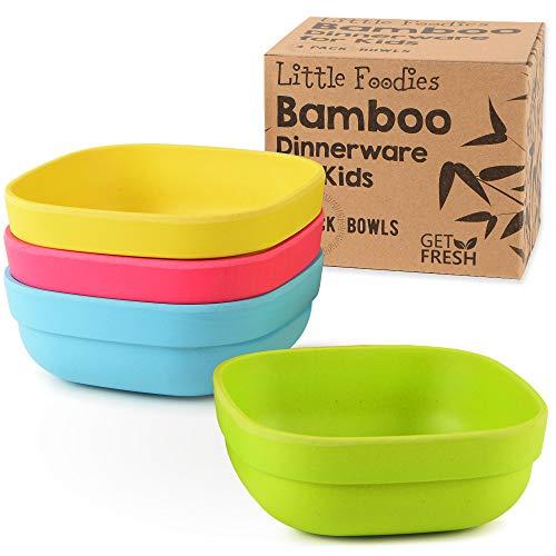 GET FRESH Ciotole per Bambini in Bambù - 4/pz Set da Cucina in Bambù - Stoviglie per Bambini in Bambù Fibra - Servizi da Tavola per Bambini in Bambù - Bamboo Kids Dinnerware Bowls Set