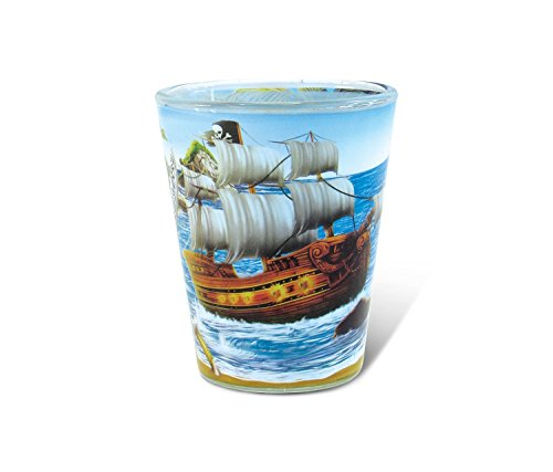 Puzzled Pirate Full Print Shot Glass 1.70 Oz Quality Glassware for Bar Collection Novelty Liquor/Spirits Drinking Glass - Marine Life Beach Character Nautical Theme