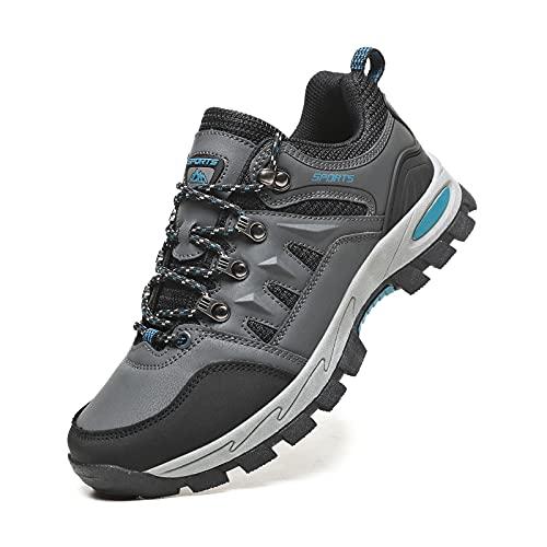 Zapatillas Senderismo Hombres Ligeras Antideslizantes Transpirable Botas de Montaña Zapatillas Trekking Mujer Gris