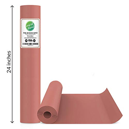 Pink Butcher Papier Rolle - 24 Zoll x 200 Fuß (2400 Zoll) - Lebensmittelqualität FDA genehmigt - tolles Räucherpapier für Fleisch aller Sorten - Made in USA - ungewachst und unbeschichtet