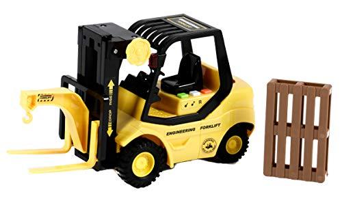 Gear Box Carretilla elevadora de juguete con función de luz y sonido, accionamiento por fricción, 1 paleta, función de elevación manual, longitud aprox. 23,5 cm