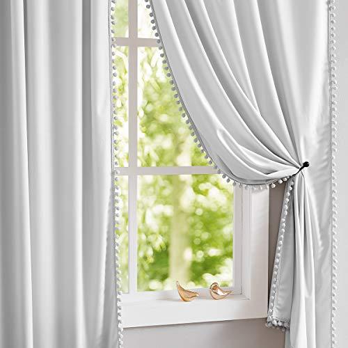 Treatmentex Gray Velvet Curtains for Bedroom Living Room 95