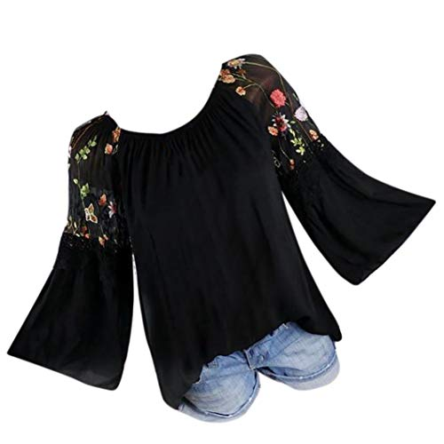 URSING Damen Bluse Blumendruck Stickerei Spitze Langarmshirts mit Trompetenärmeln Frauen Ethnischen Stil T-Shirt Schöne Oberteile Große Größe Shirtbluse Damenbluse Spitzenbluse (5XL, Schwarz)