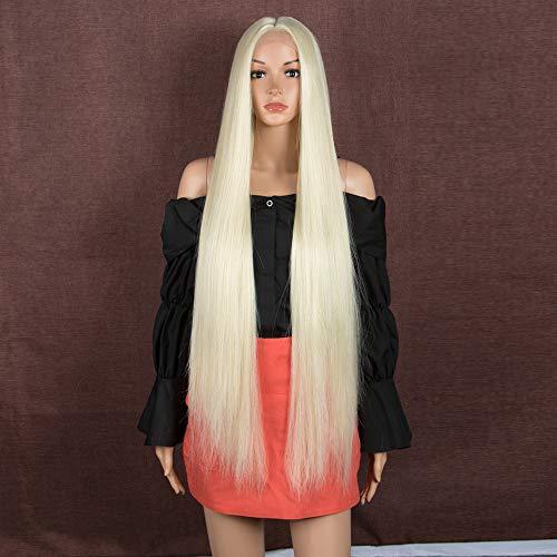 Style Icon Pelucas de 37 pulgadas super largo frente de encaje sedoso recto 1.5 pulgadas x 4 pulgadas de encaje sintético sintético pelucas para las mujeres de reemplazo de pelo