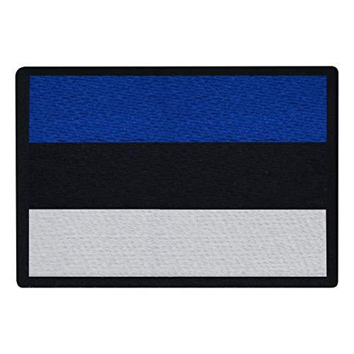 FanShirts4u Aufnäher - ESTLAND - Fahne - 8 x 5,5cm - Flagge Wappen Bestickt Patch Badge Estonia (Schwarze Umrandung)