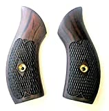 Smith & Wesson Checkered Rosewood Low Profile J Frame Grips Round Butt