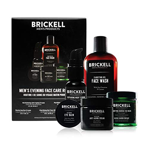 Brickell Men's Evening Face Care Routine I, Clarifying Gel Face Wash, Detoxifying Charcoal Mask, Eye Cream, Anti-Aging Night Cream and Repairing Night Serum, Natural and Organic, Unscented