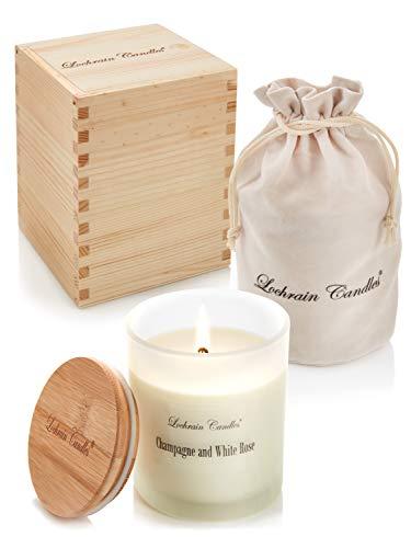 Lochrain Candles Vela Perfumada Grande de Cera de Soja - Aromaterapia Ecológica – Champán y Rosa Blanca - con aceites Esenciales y botánicos - en una excepcional Caja de Madera Hecha a Mano