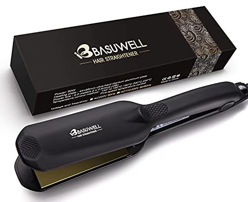Basuwell Professional Hair Straighteners Wide Plates for Thick Hair Five-Speed Temperature Control Voltage Salon Fast Hair Styler UK Plug, Black