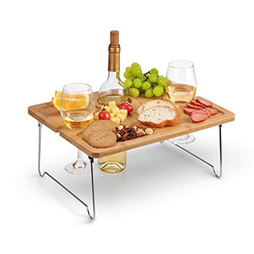 Tirrinia Outdoor Wine Picnic Table, Folding Portable Bamboo Wine Glasses & Bottle,...
