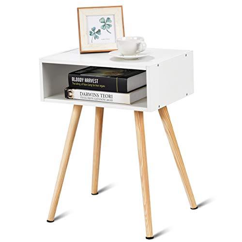 DREAMADE Nachtkommode Holz, Nachttisch Nachtschrank mit 4 Füße, Beistelltisch Wohnzimmertisch Flurkommode Flurtisch, Ablagetisch Telefontisch mit Schubladen und Ablageflache (Weiß)