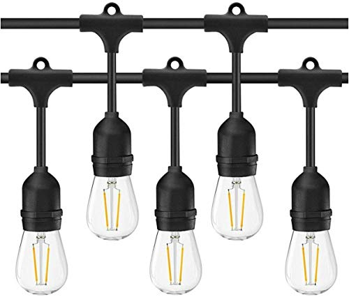Outdoor String Lights LED,BAIAO 48ft IP65 Waterproof Heavy Duty Commercial LED String Indoor/Outdoor Patio Lights,E27 15X2W LED 2500K Bulb Lights for Party,Birthday,Christmas,Wedding,Garden
