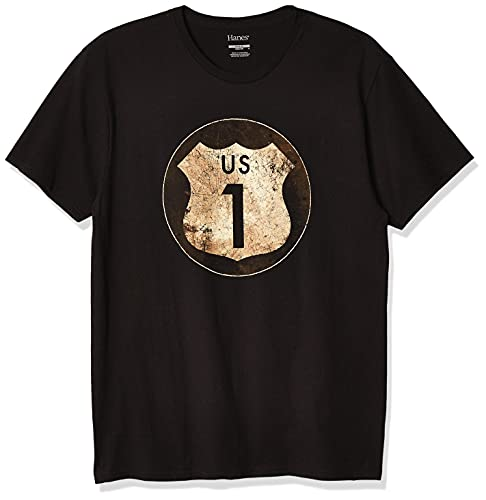 Hanes Men's Graphic Tee - Rugged Outdoor Collection, Route/Black, X-Large