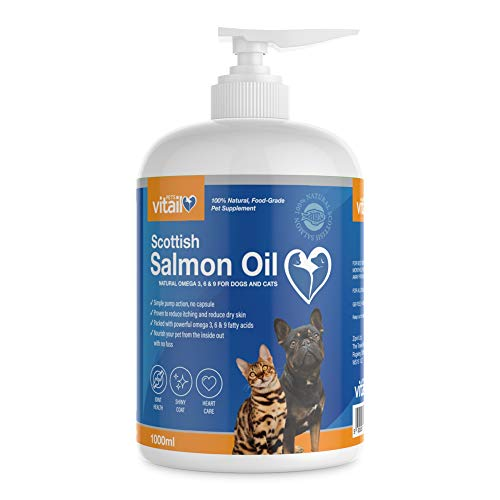 Zipvit Salmon Oil for Dogs 1 Litre, 100% Pure Scottish Salmon Oil. Natural Omega 3, 6 & 9 Supplement for Dogs and Cats. Supports Healthy Coat and Skin and Maintains Joint and Brain Health.