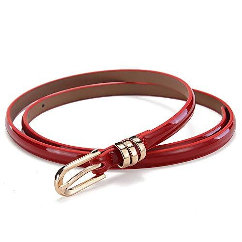 Cintura Donna In Pelle Verniciata Fine Europa E Negli Stati Uniti Comodo Outdoor Moda Abiti Decorazione Beige 100Cm (Color : Rosso, Size : 100cm)