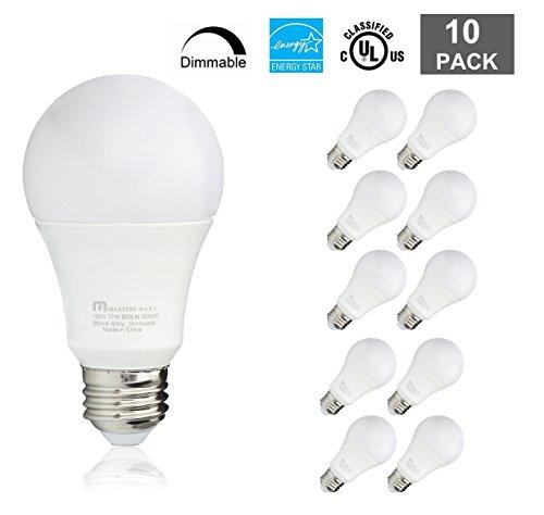 Led Light Bulbs 10 Watt [60 Watt Equivalent], A19 - E26 Dimmable, 5000K Daylight White, 800 Lumens, Medium Screw Base, Energy Star, UL Listed by Mastery Mart (Pack of 10)