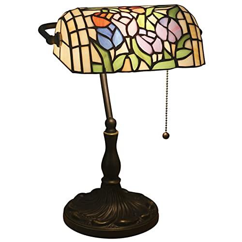 AIBOTY Lámpara De Mesa De Banqueros De Estilo Tiffany,Base De Aleación Antigua,Interruptor De Cremallera,Vidrio De...