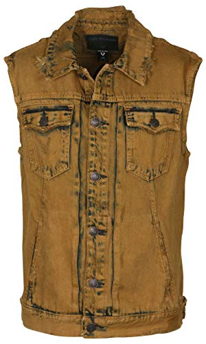 True Religion Men's Dylan Distressed Renegade Denim Vest-Tobacco Trail-Small