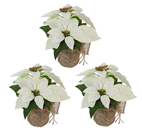 Bambelaa! 3 Piezas Estrella de Flores Navidad Artificiales Flor Pascua Artificial Ramo de Flores Navideñas...