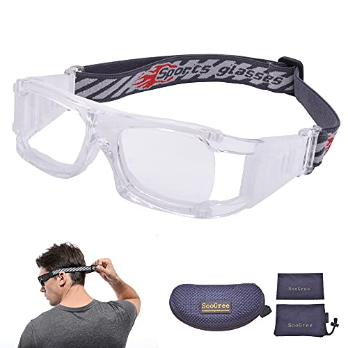 SooGree Basketball Soccer Football Sports Training Glasses Protective Eyewear Goggles Anti Fog Lens for Men Adults Safety Glasses (white)