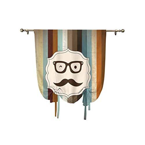 Moderna cortina pequeña para ventana, diseño de cara de hombre divertida con bigote y gafas guiñando sobre fondo a rayas, diseño de globo ajustable, 99 x 117 cm, para ventana de baño, multicolor