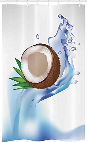ABAKUHAUS Obst Schmaler Duschvorhang, Broken Kokosnuss & Blätter, Badezimmer Deko Set aus Stoff mit Haken, 120 x 180 cm, Mehrfarbig