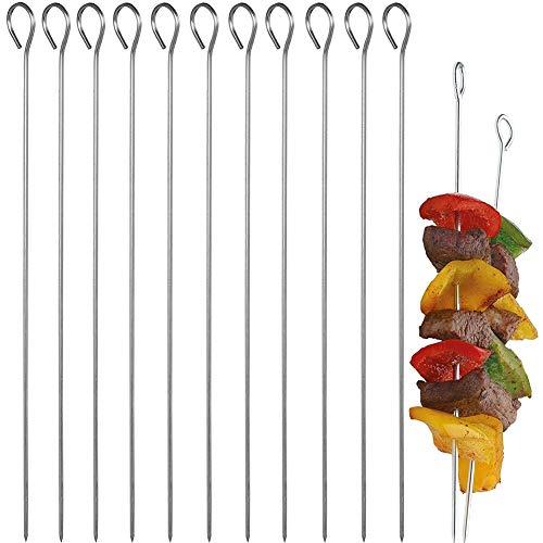 FANDE Schaschlikspieße aus Edelstahl, 30 Stück Grillspieße, Rouladennadeln, Gemüsespieße, Fleischspieße, Kebab Spieße 25 cm