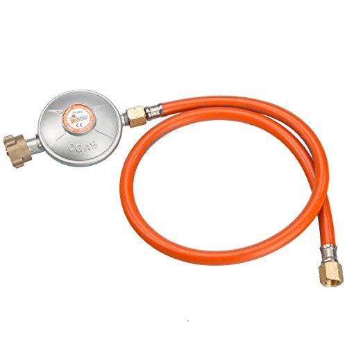 Bruzzzler Gas Niederdruckregler 50 m bar inklusive 80 cm Schlauch, silber